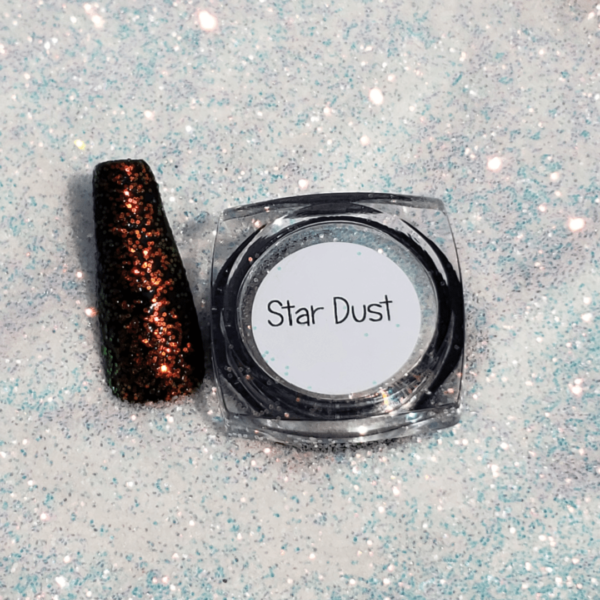 Star Dust nail color, red multi glitter